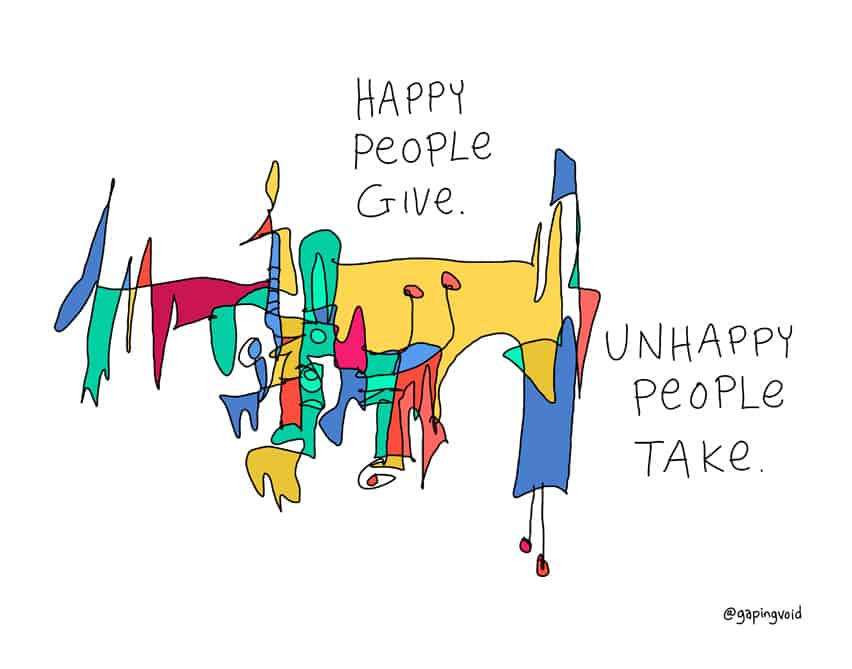 happy people give