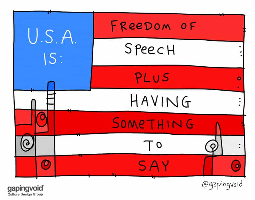 U.S.A. is: Freedom of speech plus having something to say #TCdisrupt