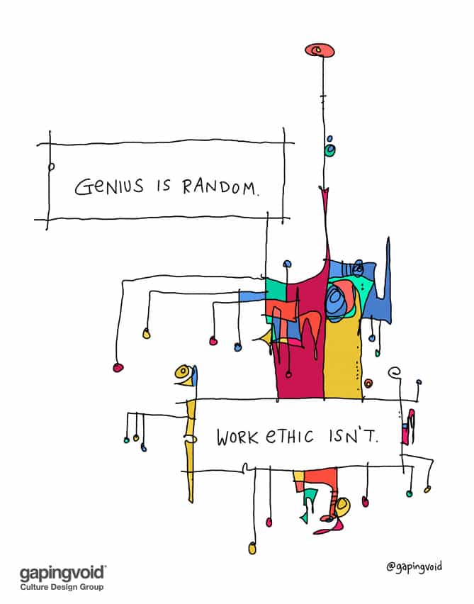 genius is random work ethic isn't