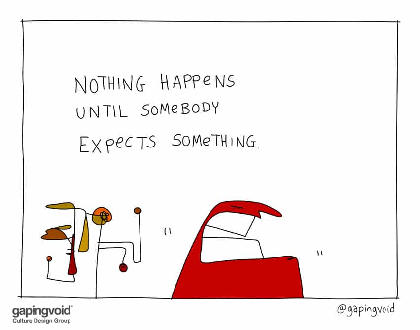 Nothing happens until somebody expects something