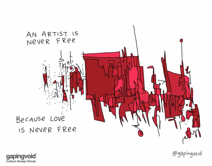 An artist is never free because love is never free