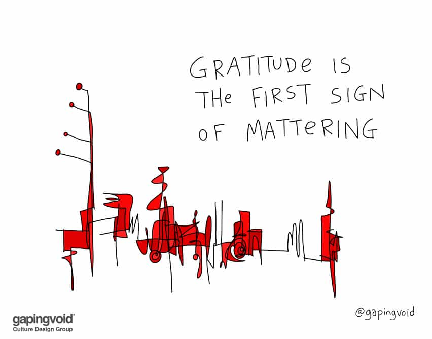 gratitude is the first sign of mattering