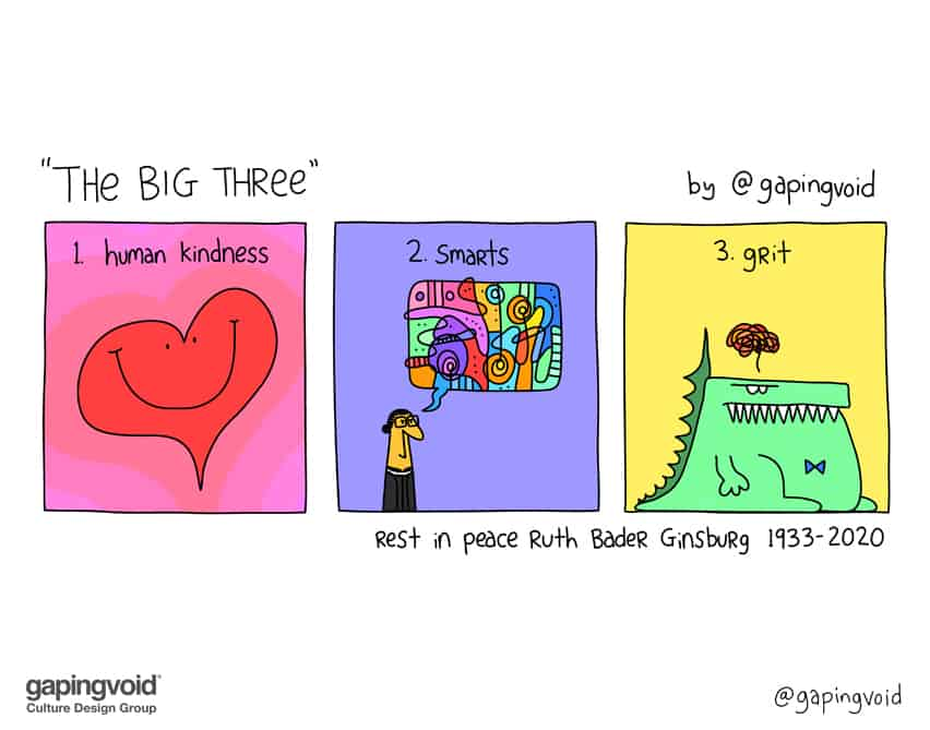 """the big three"" 1. human kindness 2. smarts 3. grit rest in peace Ruth Bader Ginsburg 1933-2020"