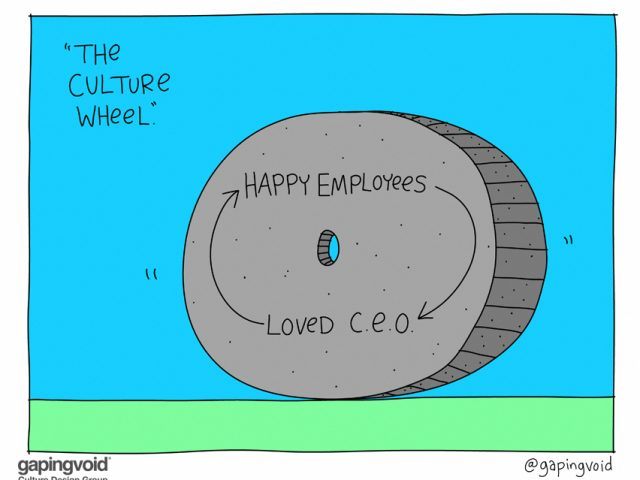 "purpose driven business;""the culture wheel"" happy employees loved C.E.O."