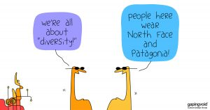 """diversity, equity and inclusion;We're all about """"diversity!"""" people here wear North Face and Patagonia!"""